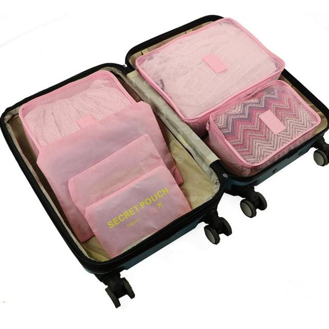 6pcs/set Baggage Travel Organizer Bag Waterproof Project Packing Organizer Travel Bags Clothes Pink Big