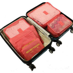 6pcs/set Baggage Travel Organizer Bag Waterproof Project Packing Organizer Travel Bags Clothes watermelon red Big
