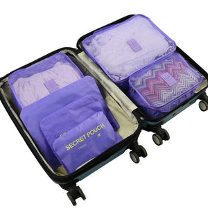 6pcs/set Baggage Travel Organizer Bag Waterproof Project Packing Organizer Travel Bags Clothes Purple