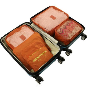 6pcs/set Baggage Travel Organizer Bag Waterproof Project Packing Organizer Travel Bags Clothes Orange Big