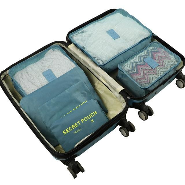 6pcs/set Baggage Travel Organizer Bag Waterproof Project Packing Organizer Travel Bags Clothes Lake Blue Big