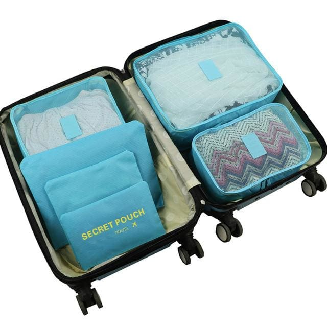 6pcs/set Baggage Travel Organizer Bag Waterproof Project Packing Organizer Travel Bags Clothes Sky blue Big