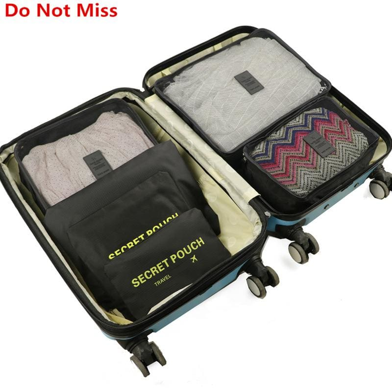 6pcs/set Baggage Travel Organizer Bag Waterproof Project Packing Organizer Travel Bags Clothes