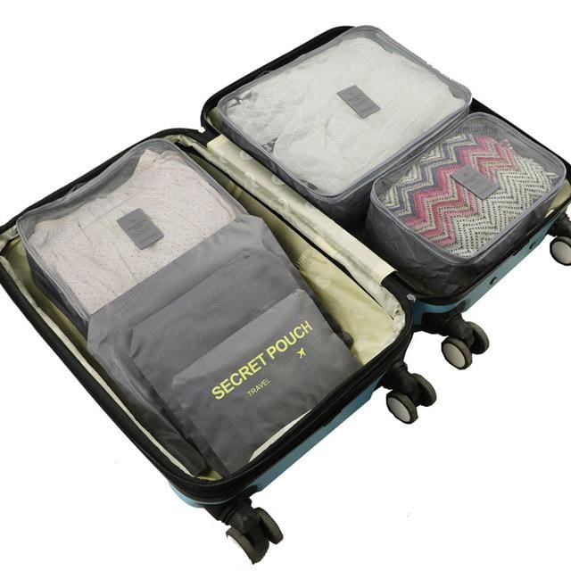 6pcs/set Baggage Travel Organizer Bag Waterproof Project Packing Organizer Travel Bags Clothes Gray Big