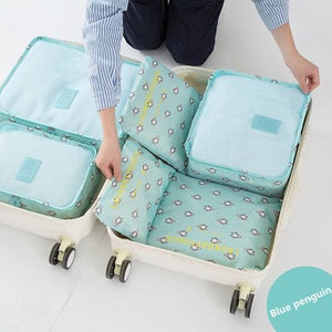 6Pcs/set Travel Storage Bags Shoes Clothes Toiletry Organizer Luggage Pouch Kits Wholesale Bulk Lots Blue Penguin