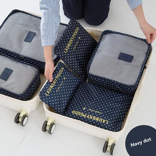 6pcs/set Travel Storage Bags Shoes Clothes Toiletry Organizer Luggage Pouch Kits Wholesale Bulk Lots Navy dot