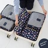 6Pcs/set Travel Storage Bags Shoes Clothes Toiletry Organizer Luggage Pouch Kits Wholesale Bulk Lots Dark Blue Flowers