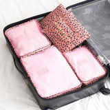 6Pcs/set Travel Storage Bags Shoes Clothes Toiletry Organizer Luggage Pouch Kits Wholesale Bulk Lots Rose Red