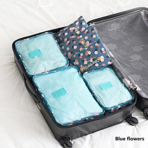 6Pcs/set Travel Storage Bags Shoes Clothes Toiletry Organizer Luggage Pouch Kits Wholesale Bulk Lots Blue Flowers