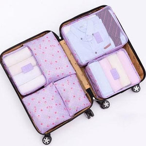 6Pcs/set Travel Storage Bags Shoes Clothes Toiletry Organizer Luggage Pouch Kits Wholesale Bulk Lots Purple Cherry