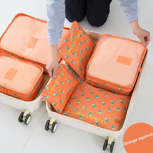 6pcs/set Travel Storage Bags Shoes Clothes Toiletry Organizer Luggage Pouch Kits Wholesale Bulk Lots Orange squirrel