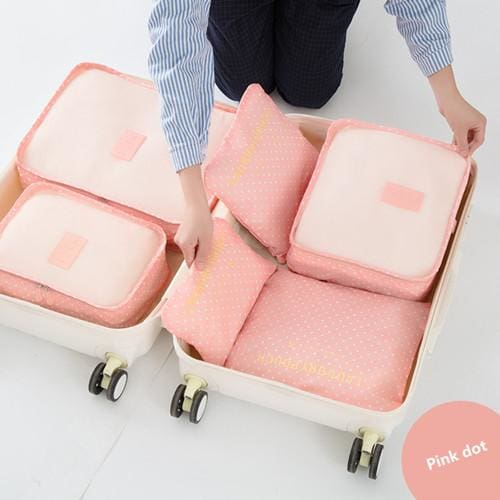 6Pcs/set Travel Storage Bags Shoes Clothes Toiletry Organizer Luggage Pouch Kits Wholesale Bulk Lots Pink Dot