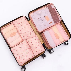 6Pcs/set Travel Storage Bags Shoes Clothes Toiletry Organizer Luggage Pouch Kits Wholesale Bulk Lots Pink Cherry
