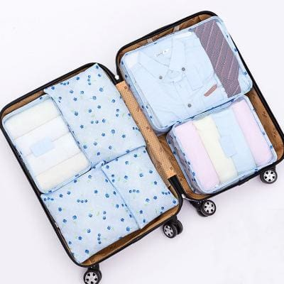 6Pcs/set Travel Storage Bags Shoes Clothes Toiletry Organizer Luggage Pouch Kits Wholesale Bulk Lots Blue Cherry