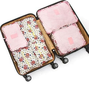 6Pcs/set Travel Storage Bags Shoes Clothes Toiletry Organizer Luggage Pouch Kits Wholesale Bulk Lots Pink Smil