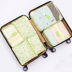 6Pcs/set Travel Storage Bags Shoes Clothes Toiletry Organizer Luggage Pouch Kits Wholesale Bulk Lots Green Cherry