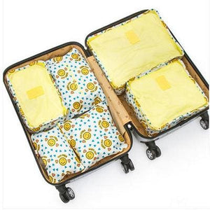 6Pcs/set Travel Storage Bags Shoes Clothes Toiletry Organizer Luggage Pouch Kits Wholesale Bulk Lots Yellow Smil