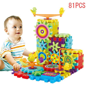 81 Pcs Plastic Electric Gears 3D Puzzle Building Kits Bricks Educational Toys For Kids Children - MBMCITY