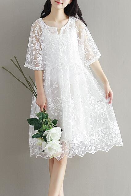 9077 2017 maternity clothing summer twinset lace maternity one-piece dress white embroidery White / M