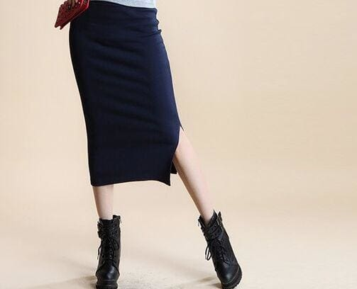 A Little Thick 2016 Autumn Sexy Chic Pencil Skirts Office Look Natural Waist Mid-Calf Solid Skirt C919Navy / One Size