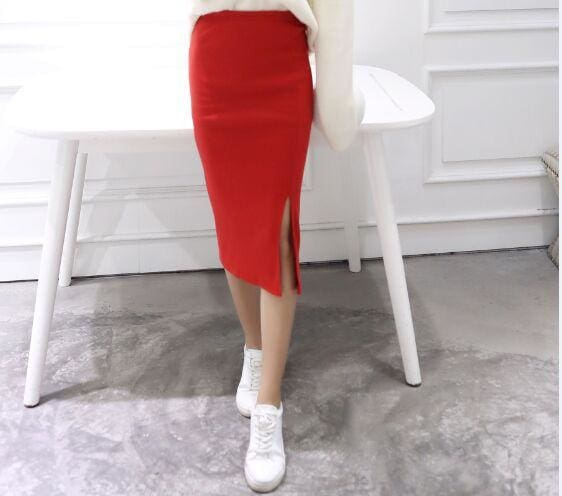 A Little Thick 2016 Autumn Sexy Chic Pencil Skirts Office Look Natural Waist Mid-Calf Solid Skirt C919Red / One Size