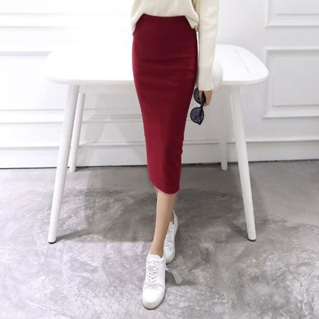 A Little Thick 2016 Autumn Sexy Chic Pencil Skirts Office Look Natural Waist Mid-Calf Solid Skirt C919Wine / One Size