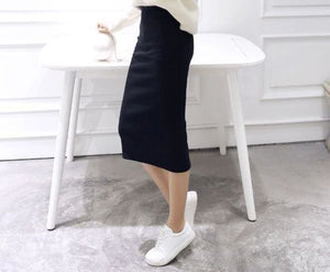 A Little Thick 2016 Autumn Sexy Chic Pencil Skirts Office Look Natural Waist Mid-Calf Solid Skirt C919Black / One Size