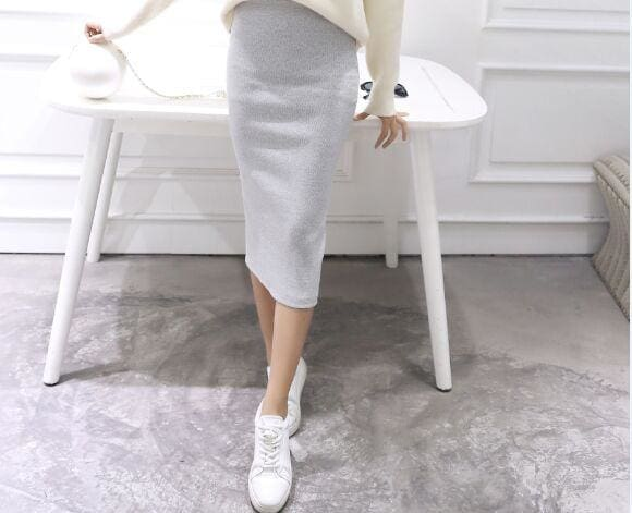 A Little Thick 2016 Autumn Sexy Chic Pencil Skirts Office Look Natural Waist Mid-Calf Solid Skirt C919Gray / One Size