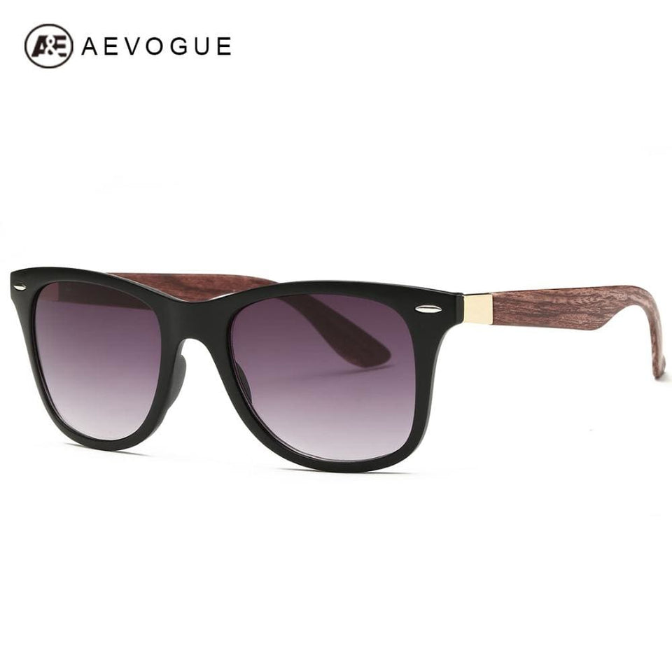 AEVOGUE Mens Sunglasses Aritificial Wood Grain Temple Brand Design Summer Style Unisex Sun Glasses