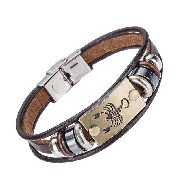 Alibaba Hot Selling Europe Fashion 12 Zodiac Signs Bracelet With Stainless Steel Clasp Leather 12
