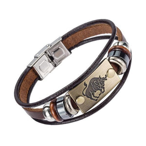 Alibaba Hot Selling Europe Fashion 12 Zodiac Signs Bracelet With Stainless Steel Clasp Leather 11