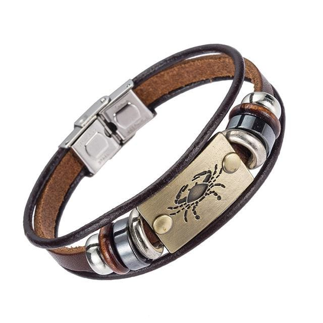 Alibaba Hot Selling Europe Fashion 12 Zodiac Signs Bracelet With Stainless Steel Clasp Leather 8