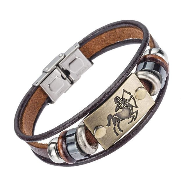 Alibaba Hot Selling Europe Fashion 12 Zodiac Signs Bracelet With Stainless Steel Clasp Leather 5