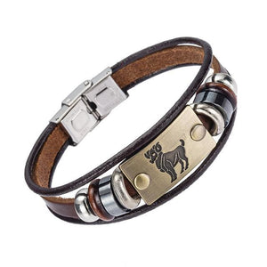 Alibaba Hot Selling Europe Fashion 12 Zodiac Signs Bracelet With Stainless Steel Clasp Leather 7