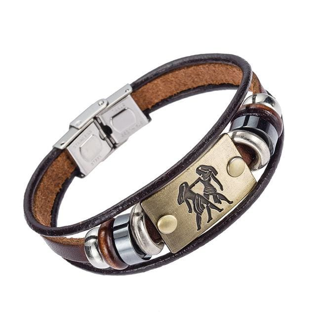 Alibaba Hot Selling Europe Fashion 12 Zodiac Signs Bracelet With Stainless Steel Clasp Leather 2