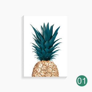ALMUDENA Nordic Pineapple Painting Wall Art Cuadros Home Decoration Poster And Prints Plant Art 40x60cm No Frame / White