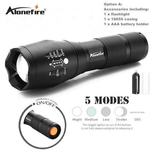 Alonefire E17 Xm-L T6 5000Lm Aluminum Waterproof Zoomable Cree Led Flashlight Torch Light For 18650 Option B / Xml-T6 Led