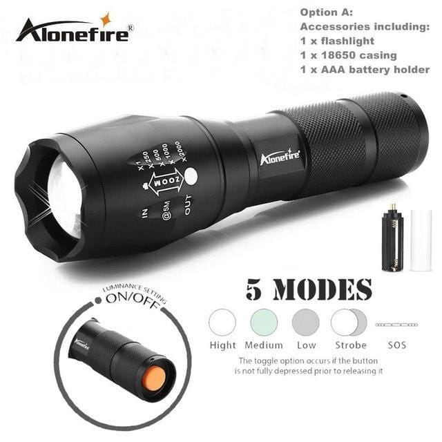 AloneFire E17 XM-L T6 5000LM Aluminum Waterproof Zoomable CREE LED Flashlight Torch light for 18650 - MBMCITY