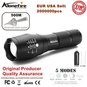 Alonefire E17 Xm-L T6 5000Lm Aluminum Waterproof Zoomable Cree Led Flashlight Torch Light For 18650
