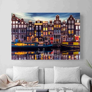 Amsterdam Landscape Photos Modern Poster Art Wall Pictures Silk Fabric Printed Painting Room - MBMCITY