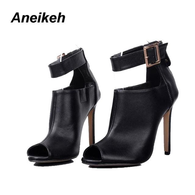 Aneikeh Gladiator Women Pumps Ladies Sexy Buckle Strap Roman High Heels Open Toe Sandals Party Black / 4