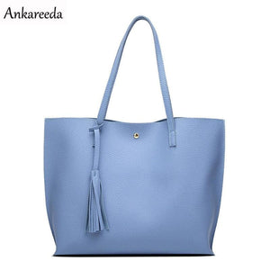 Ankareeda Luxury Brand Women Shoulder Bag Soft Leather TopHandle Bags Ladies Tassel Tote Handbag - MBMCITY