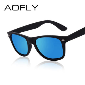AOFLY Fashion Sunglasses Men Polarized Sunglasses Men Driving Mirrors Coating Points Black Frame