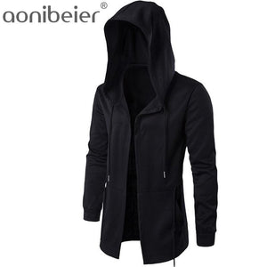 Aonibeier Men Hooded Sweatshirts With Black Gown Hip Hop Mantle Hoodies Fashion Jacket long Sleeves - MBMCITY
