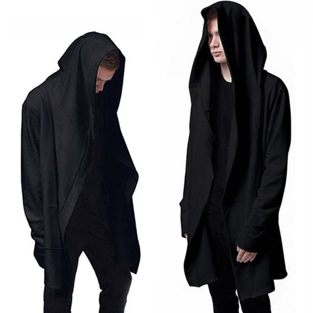 Aonibeier Men Hooded Sweatshirts With Black Gown Hip Hop Mantle Hoodies Fashion Jacket long Sleeves Black / XXL