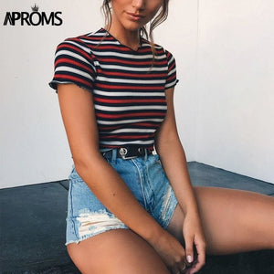 Aproms Multi Stripe Blocked Stretch T-Shirt Women Summer Crop Top 90S Basic Tshirt Casual Short