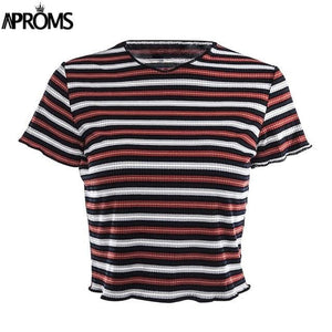 Aproms Multi Stripe Blocked Stretch T-Shirt Women Summer Crop Top 90S Basic Tshirt Casual Short Multi / L