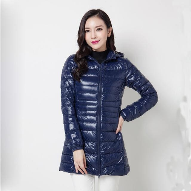 Arbitmatch Fashion Winter Ultra Light Down Jacket 90% Duck Down Hooded Jackets Long Warm Slim Coat Draw Blue / S