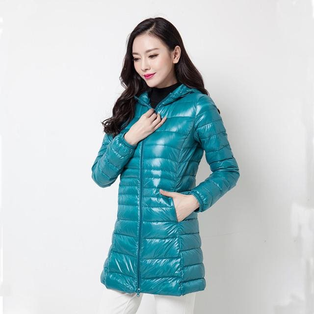 Arbitmatch Fashion Winter Ultra Light Down Jacket 90% Duck Down Hooded Jackets Long Warm Slim Coat Sky Blue / S