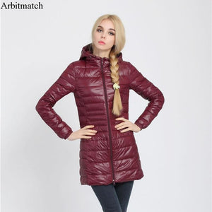 Arbitmatch Fashion Winter Ultra Light Down Jacket 90% Duck Down Hooded Jackets Long Warm Slim Coat